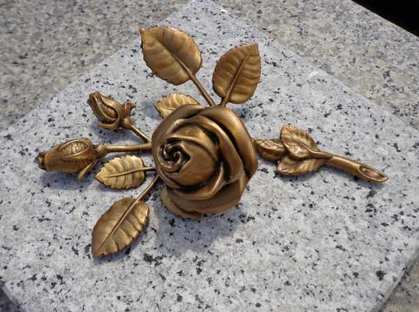 bronze rose: cemetery bronze rose
