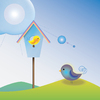 Birdy girl blue house and boy
