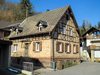 ocher half-timbered house