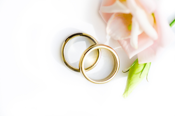 Golden Wedding Rings 2 On White Background