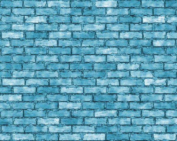 Coloured Brick Wall 3: A brick wall in shades of blue and aqua, with grungy mortar. High resolution image.