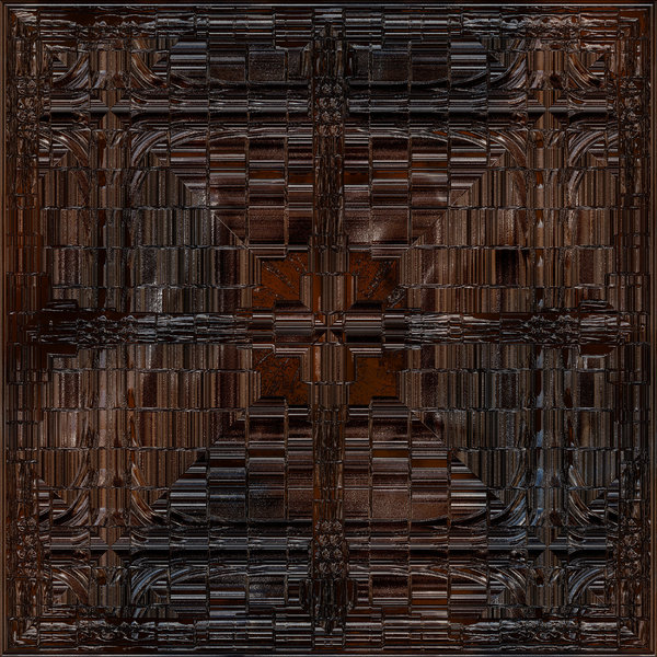 Gothic Glass Panel: A Gothic glass tile in dark brown colours. Could pass for metal or polished wood as well.