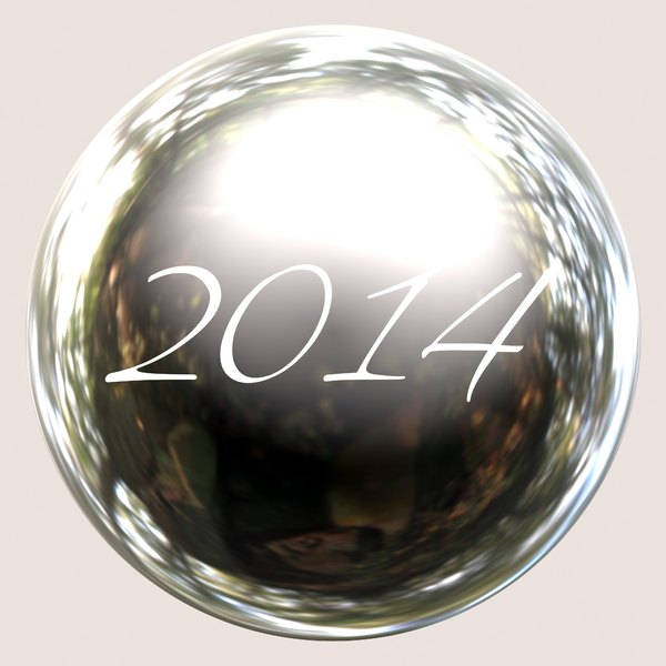 2014 b: A shiny 2014 button or sphere.