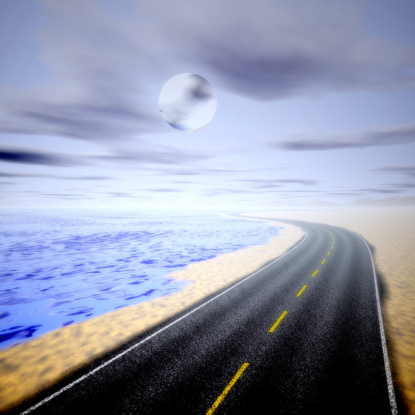 Moving On 4: An empty highway running along the coast, with clouds and a moon in the sky.