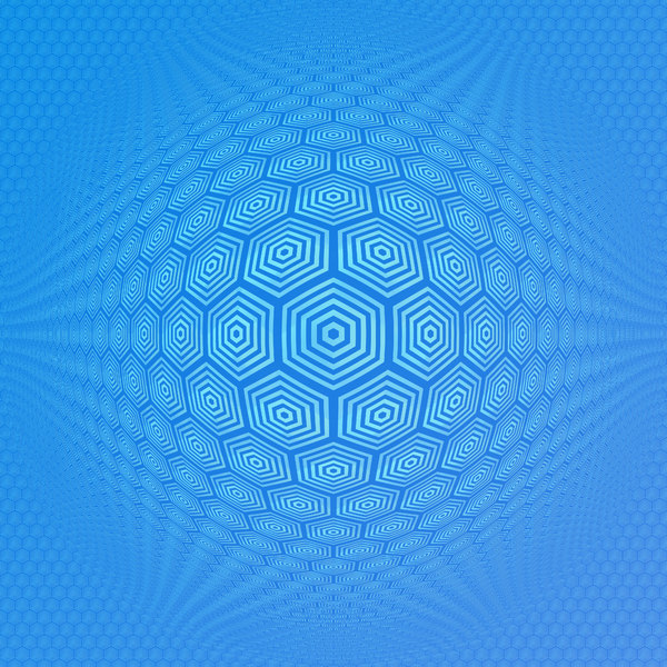 Op Art: An op-art 3d warp image made of hexagonal shapes.