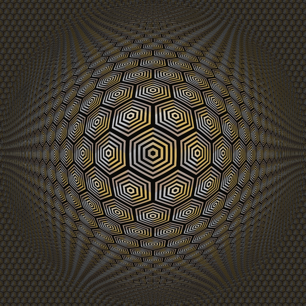 Op Art 2: A high resolution op-art 3d warp image made of hexagonal shapes.