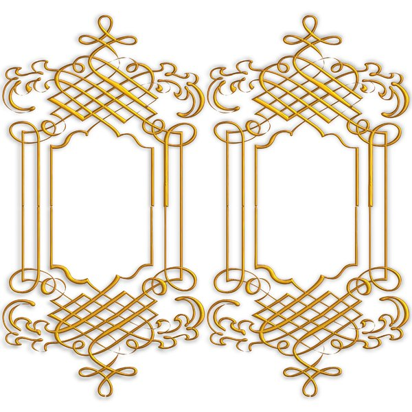 Golden Ornate Border 9: Twin golden ornate borders or frames on a white background. Very elegant and old fashioned in a classic style. Made from a public domain image. You may prefer this:  http://www.rgbstock.com/photo/nXK186c/Golden+Ornate+Border+5  or this:  http://www.rgbsto
