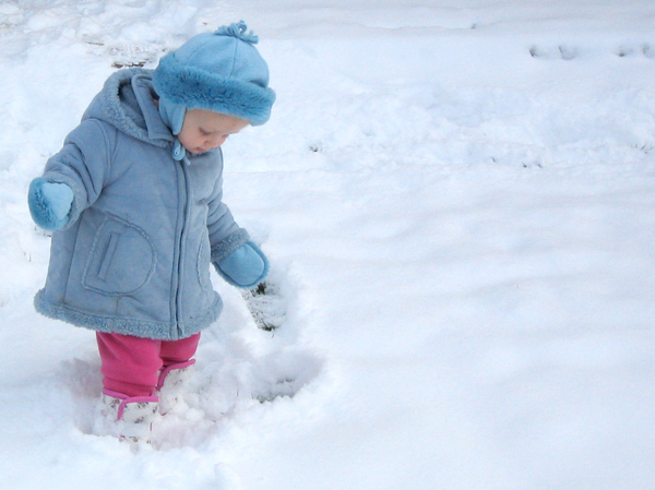 First Snowfall 2: Young toddler playing in the snow for the first time.