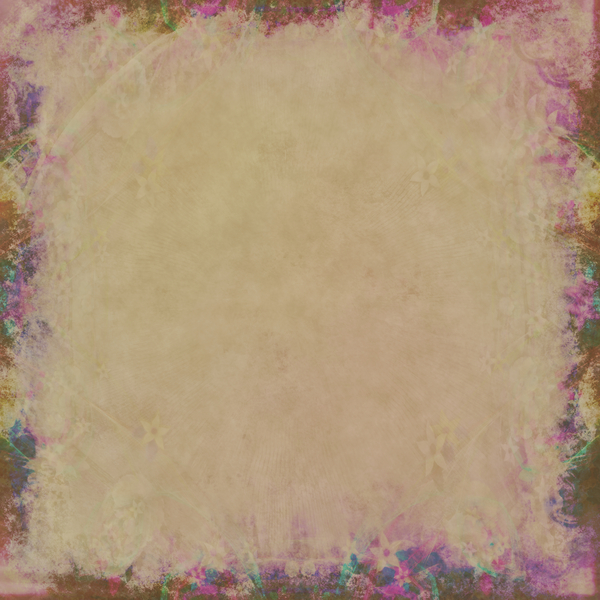 Decorated Parchment 1: A square background of parchment decorated with a floral border.
