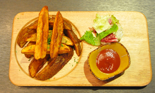 fries and salad: fries and salad