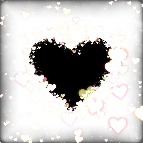Hearts Frame 2: A black heart shape with a 3d border, lined with coloured hearts inside and out.