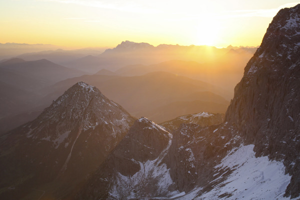 mountain sunset, austria: sunset at the terrific dachstein glacier in styria - austria, in front the big one in the middle in the far is the