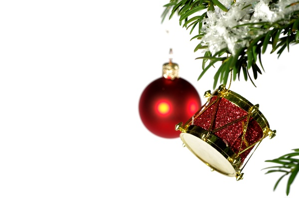 Christmas tree with decoration: Decoration on christmas tree with white background
