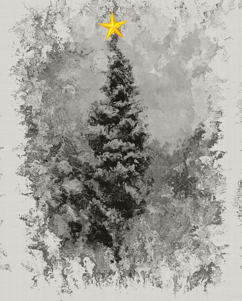 Grungy Tree 2: Made from a public domain image. A grungy, snowy winter scene with an impressionistic effect plus one golden star.  You may prefer:  http://www.rgbstock.com/photo/2dyVQYr/Abstract+Christmas+Tree  or:  http://www.rgbstock.com/photo/ngpT7LI/Candy+Cane+Tree