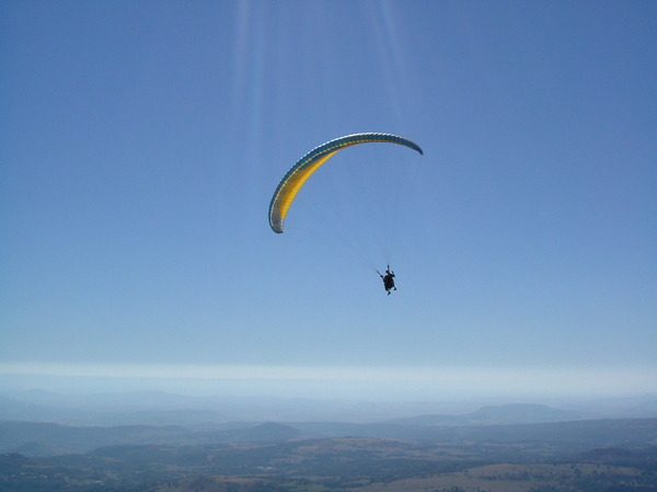 Paragliding at the Puy-De-Dome: Paragliding at the Puy-De-Dôme, France.