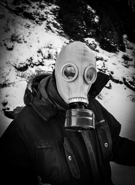 Gas Mask: Man Wearing Gas Mask