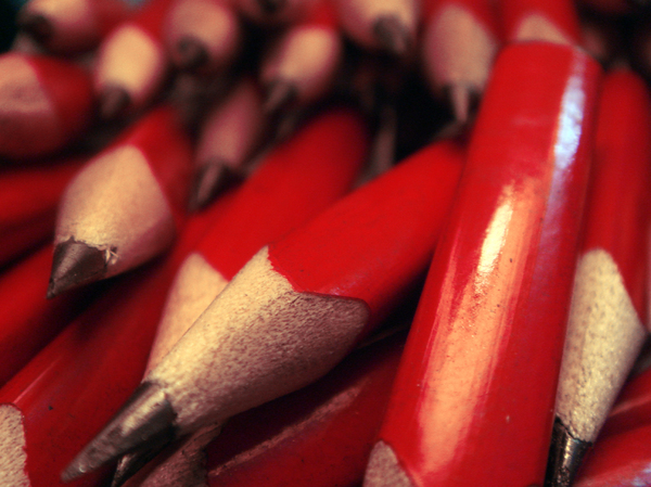Red Pencils 14: When this was shot, I had 120 little red pencils waiting to go into little packages to be used for a design project.