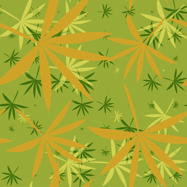 Bamboo Leaves 2: A colourful backdrop, texture, pattern or fill with leaf shapes reminiscent of bamboo or marijuana.