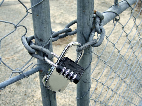padlock technology1: gates locked with modern padlocks