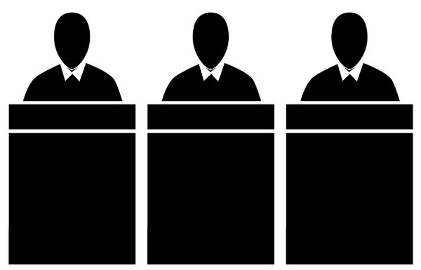 Panel of Judges 4: A pictogram of a panel of judges seated at a bench or office workers seated at desks. Could represent power, preachers or government.