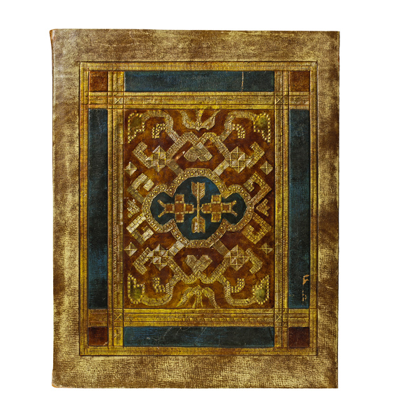 Manuscript Folder: The cover of a very old and worn manuscript folder. It is intricately embossed with gold patterns on its leather skin.