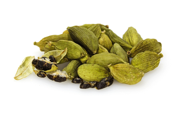 Cardamom Seeds: Green cardamom pods and seeds. An Aromatic spice from India region or Guatemala. Used for flavoring hot drinks, cooking spice and medicine.