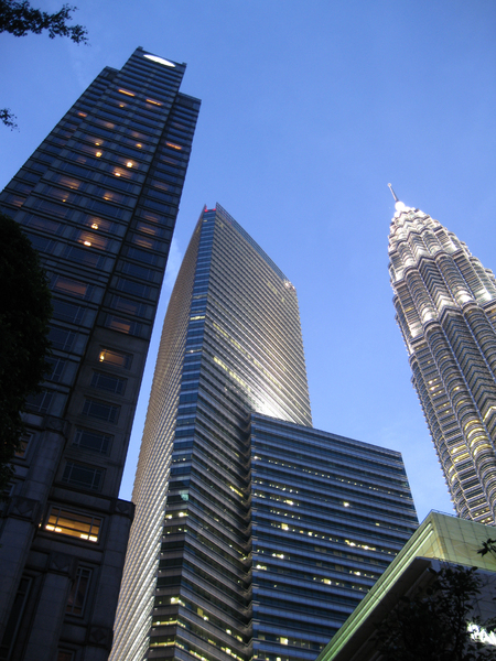 Skyscrapper: Evening walk in Kuala Lumpur. I went to KLCC to take picture of this well-known landmark and its surrounding buildings