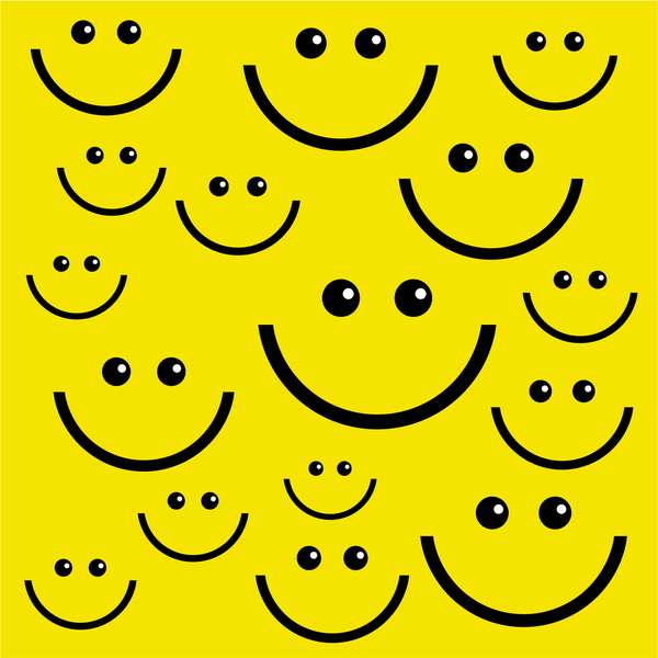 Happy Smiling Faces: Yellow smiling face wallpaper.