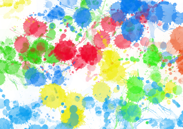 Paint Splats: multi coloured splatterings of paint.