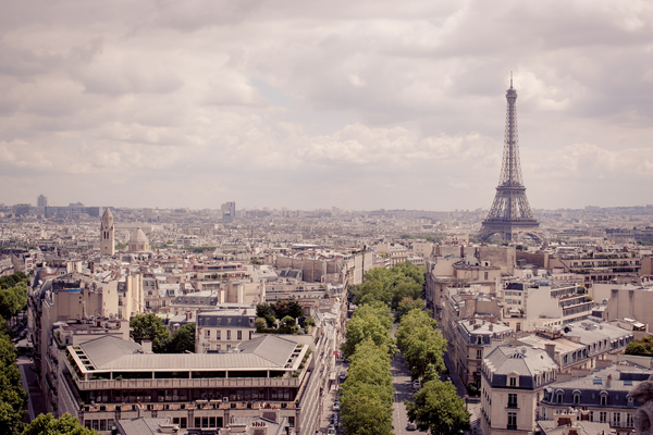 Paris City Skyline 1: View of Paris city skyline from above the Arc De Triomphe