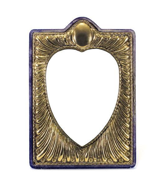 Gold Heart Frame: Art nouveau style frame with velvet edge faded and worn