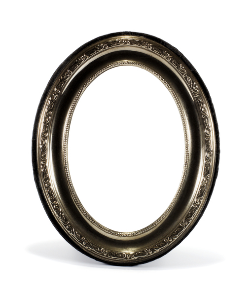 Oval Metal Frame: Oval frame with stamped metal frills