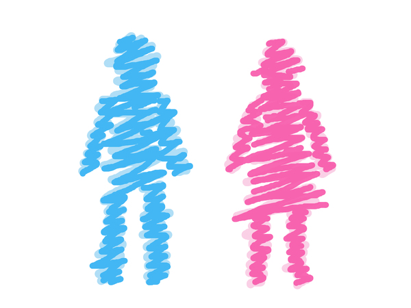 Scribble man and woman: Scribble graphic of a man and woman.