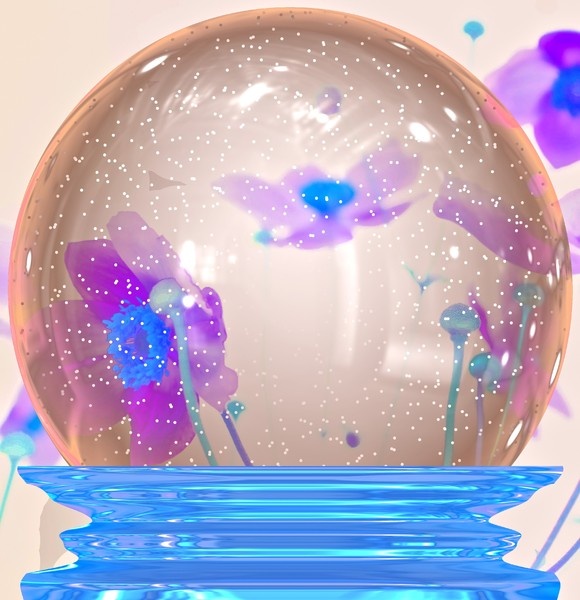 Floral Snowglobe: A floral snowglobe with a blue metallic base. You may prefer:  http://www.rgbstock.com/photo/nPKuLOQ/Christmas+Snowglobe+2  or:  http://www.rgbstock.com/photo/nokQTsC/Bubblegum+Machine