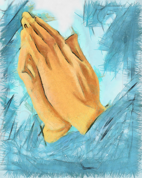 Praying Hands: Praying hands digital painting.