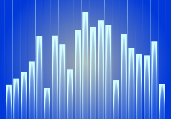 Blue Business Graph: Digitally created graphic of a blue business graph chart.