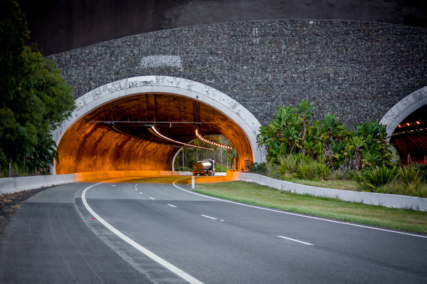 Highway Tunnel: Cudgen Road tunnel as part of the Pacific Highway located south of Chinderah on the North Coast of NSW Australia