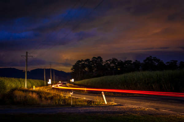 Country Roads at Night: car travelling down country road just after dusk