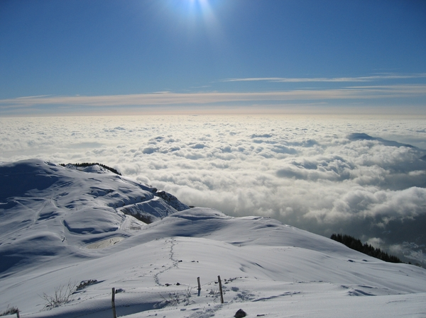 Clouds and snow: The sea of clouds in Venetian pre alps ( little dolomites)
