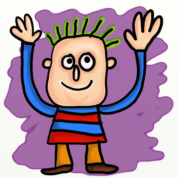 Cartoon Waving Man: Whimsical cartoon man waving hello or goodbye.