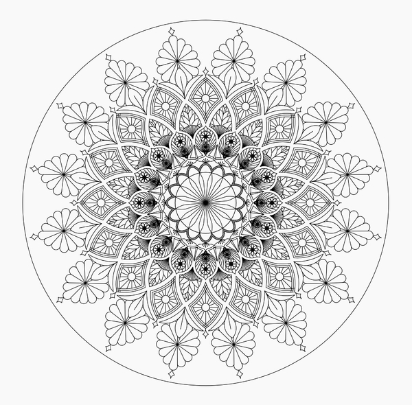 Mandala 2 b/w: Mandala to print and color